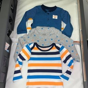 3 3-6 month long sleeve onesies
